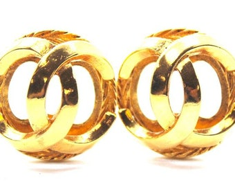 Chanel #16936 Gold Rare Cc Large Cutout Clip On Earrings