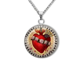 Immaculate Heart of Mary Pendant, Stainless Steel Pendant with 18 or 24 inch chain - Catholic Art Jewelry