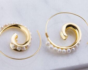 Vermeil Freshwater Pearl Hoop Earring Component, Freshwater Pearls Hoop Earring, Jewelry Making, Unique Fashion Pearl Hoops, GFER144