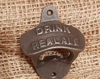 "Cast Iron Bottle Opener ""Drink Real Ale"""