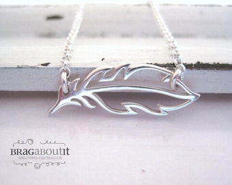 Feather Jewelry . Sterling Silver Feather Necklace . Sideways Feather Necklace . Layering Necklace . Brag About It . Float