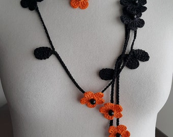 Crochet Necklace,Crochet Neck Accessory, Flower Necklace, Black & Orange, 100% Cotton.