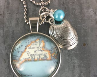 Map Pendant Necklace Martha's Vineyard Massachusetts