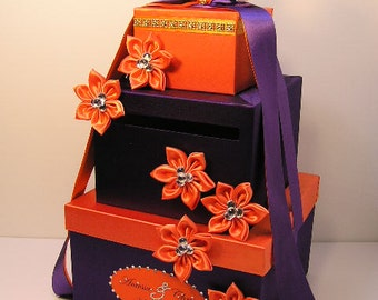 Wedding Card Box Purple and Orange Gift Card Box Money Box  Holder--Customize your color