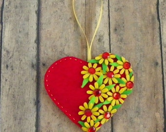 Red Felt Heart Ornament With Yellow Flowers