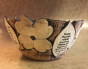 Large Scripture Dogwood Bowl 12