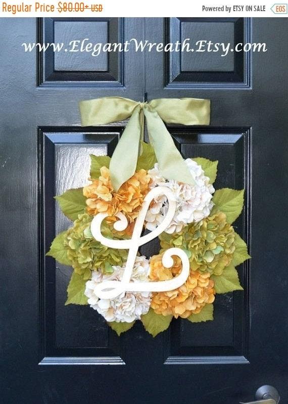 SUMMER WREATH SALE Fall Hydrangea Wreath, Hydrangea Fall Wreath, Fall Monogram Wreaths, Fall Decor, Fall Decoration, Monogram Wreaths