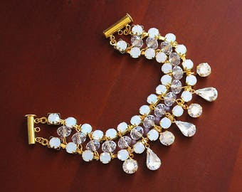 Tamika Bohemian Bracelet, Bridal Bracelet, Opal Bracelet, Wedding Bracelet, Gold Crystal Bracelet Cuff, Bridal Cuff, Bridesmaid Bracelet