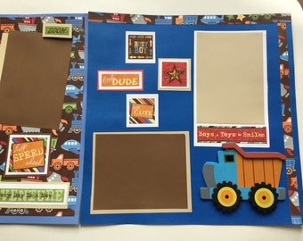 2 premade little boy scrapbook pages    12 by 12    truck scrapbook pages  premade little boy truck pages