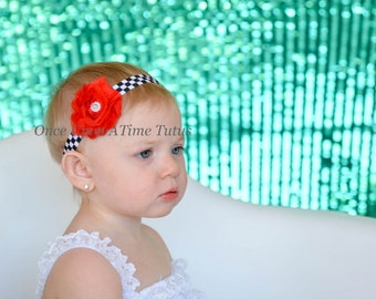 Checkered Flag Shabby Flower Headband - Little Girls or Teen Racing Hairbow - Choice of Color or Team Hair Bow - Black, Red, and White