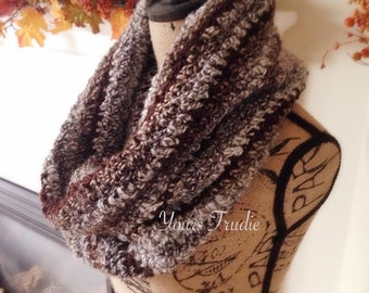 Soft Wool Crochet Cowl, Crochet Snood Scarf, Chunky Alpaca Cowl, Chunky Knit Scarf, Tall Knit Cowl, Brown Cowl Scarf, Gift for Her