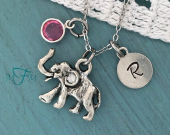 Elephant Charm Necklace, Personalized Necklace, Silver Pewter Elephant Charm, Swarovski birthstone, Animal Charm Necklace