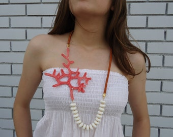 Contemporary necklace, Crochet Coral,  Statement  Coral Necklace, White Coral, Women Jewelry . OOAK. Gift for her.