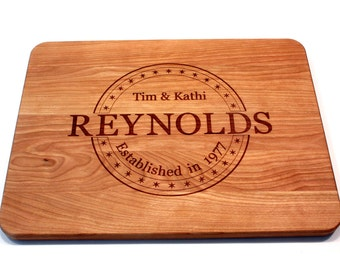 Personalized Cutting Board Wedding Gift Home Decor Anniversary Gift Engagement Gift Engraved Wood Chopping Block Kitchen Decor