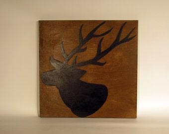 Deer painted on wood canvas