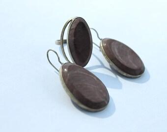 Vintage Jasper set, Pink Jasper Set, Jasper ring, Jasper earrings, boho style set #298 Free shipping