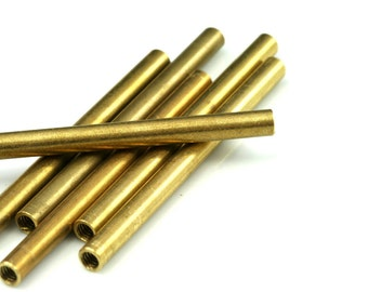 5 pcs raw brass tube 70 x 5 mm (hole M4 thread ) industrial brass charms, pendant, findings spacer bead