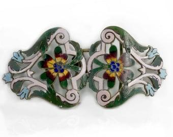 Antique Art Nouveau gilt brass buckle with enamel. buvc551(e)