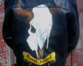 Southbound - Hand-painted Leather Biker Jacket (M)
