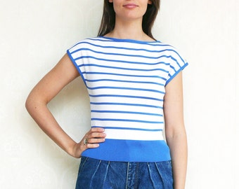 "Vintage nautical stripe top, small  - blue and white. . . . . . . . . . . . ""Like"" our fb page for 10% discount"