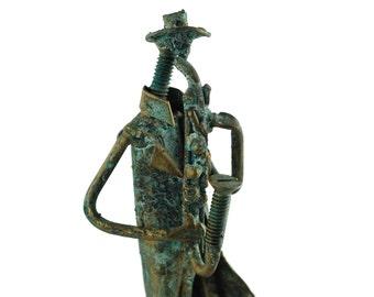 Vintage Patinated Verdigris Iron Brutalist Style Saxophonist Sculpture Attributed to Mathias Goeritz