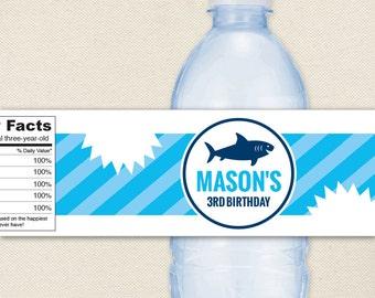 Shark Party - 100% waterproof personalized water bottle labels
