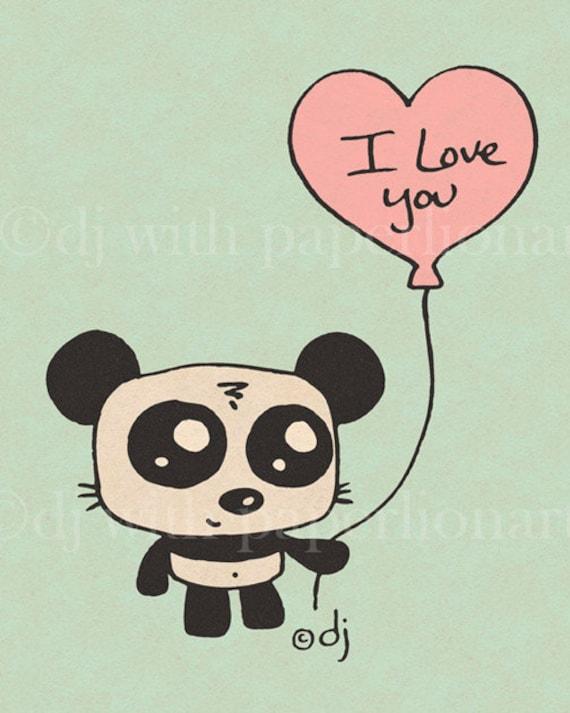 "Panda Bear holding ""I Love You"" Balloon Print 8x10"