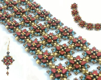 """Beading4perfectionists:  """"Art Nouveau"""" bracelet or earrngs beading pattern tutorial PDF file"""