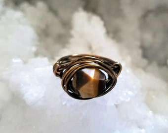 Antiqued Bronze Faceted Tiger's Eye/Tiger Eye Wire Wrapped Ring (any size)