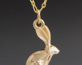 14 kt gold  jack rabbit  pendant