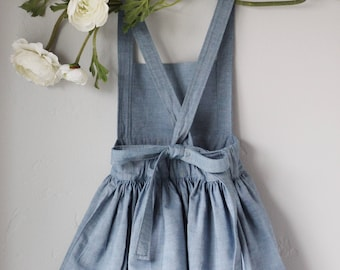 Light Denim Toddler and Baby Pinafore Dress Made to Order