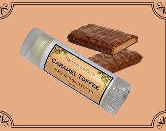 CARAMEL TOFFEE Lip Balm made with Shea Butter - .15oz Oval Tube