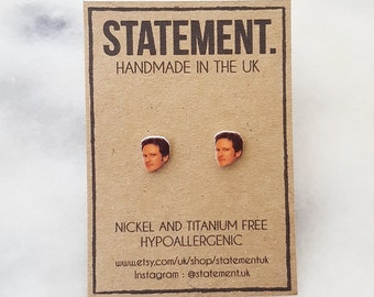 Mark Darcey / Colin Firth Actor Bridget Jones Film Head / Face Stud Earrings - 1 pair