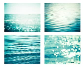 nautical decor set abstract beach art ocean photography water ripples 8x10 11x14 fine art photography bokeh sparkle teal water wall decor