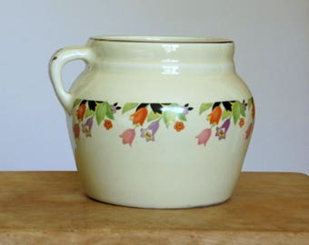 Vintage Bean Pot, Hall China Crocus, Ceramic Casserole with Lid, Cottage Kitchen, Farmhouse Decor