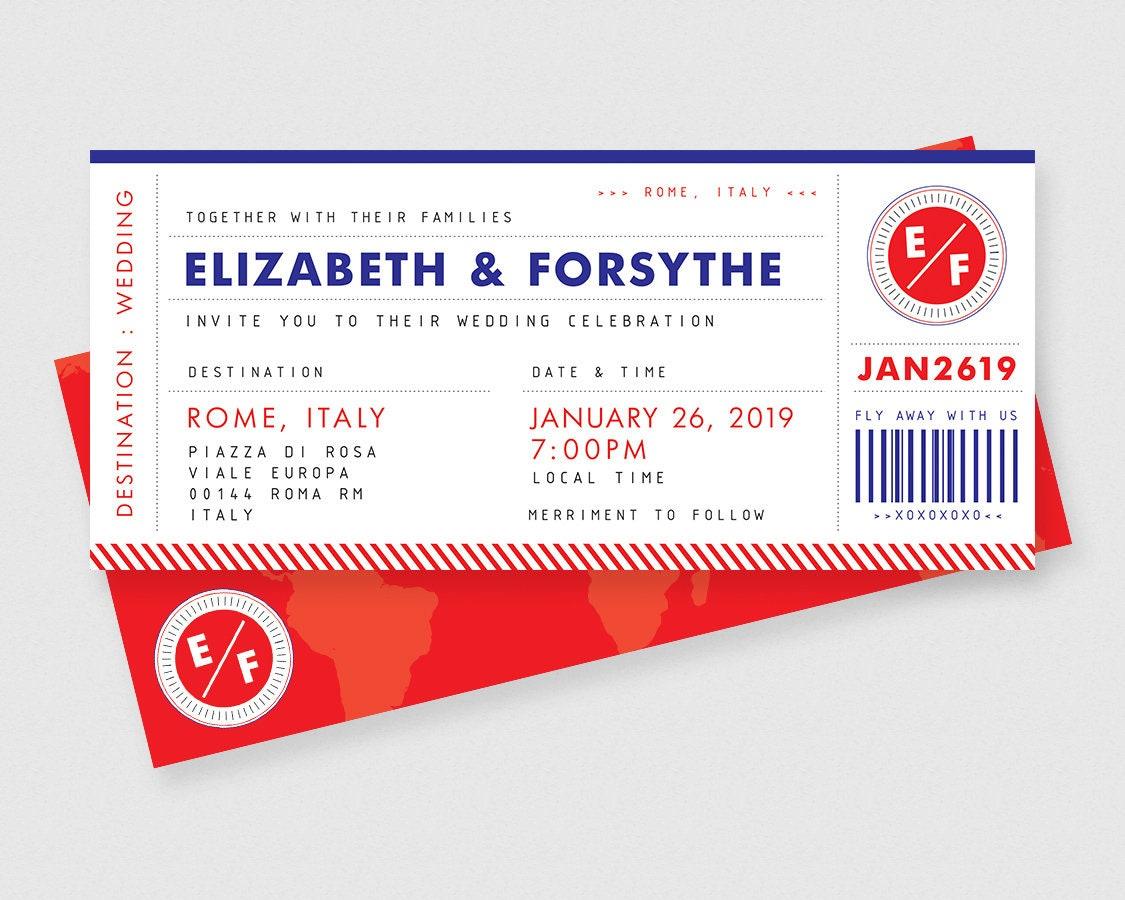 Boarding Pass Plane Ticket Printable Wedding Invitations