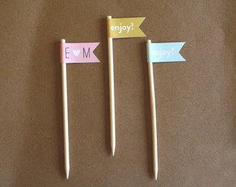 Cupcake Topper / Food Pick / Banner on Stick / Flag on Stick / Customizable Cupcake Topper Flags / Personalized Cupcake Toppers / Shower