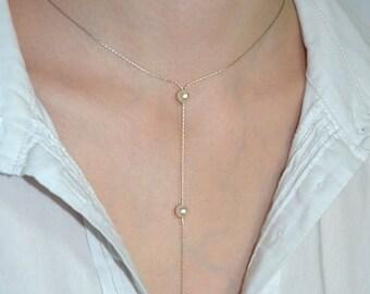 LARIAT NECKLACE Silver // Silver Y Necklace - Long Pearl Y Necklace - Drop Necklace - Silver Lariat Necklace - Y Necklace Silver