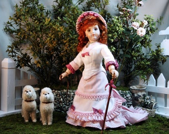 """French Fashion doll costume pattern for circa 1878 Country Holiday ensemble for 12"""" dolls"""