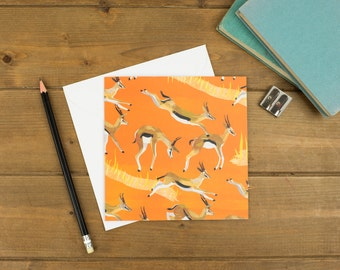 Galloping Gazelles Greetings Card