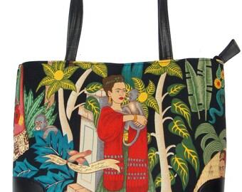 "USA Handmade Handbag With ""FRIDA"" Pattern Bag Purse, Cotton, New"
