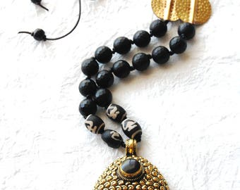 Black Onyx Beads Large Buddha Head Pendant Zen Inspired Necklace, ZL04172 Big Buddha Ebony