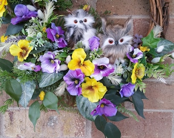 Owl, Pansies, No Owls, One Owl, Both Owls, Wreath, Pansy, Spring, Purple, Yellow, White, Oval Wreath, Medium Wreath, Owls, Spring Wreath
