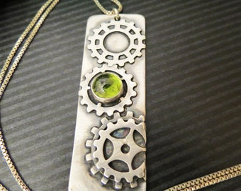 Clock Gears Memorial Pendant Necklace for Hair or Pet Ashes EXAMPLE ONLY