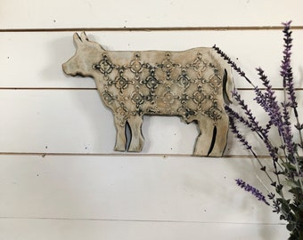 Wood cutout - small cow