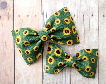 Sunflower fall hair bow headband apple green preppy rockabilly