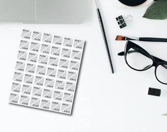 Corner Work Gray Planner Stickers