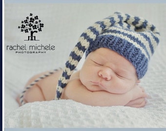 Newborn Baby Boy Hat PHoTO PRoP Denim Blue Ivory Stripe Stocking Cap LoNG TAiL Beanie CoMiNG HoME Pixie Toque CoZY Elf Cap CHooSE CoLOR Gift