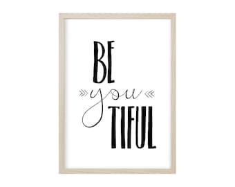 POSTER BEYOUTIFUL / Kruth Design, Print, Wall-Art, Beauty, Minimal Poster Art, Typography, Black and White Print, Poster, Kunstdruck