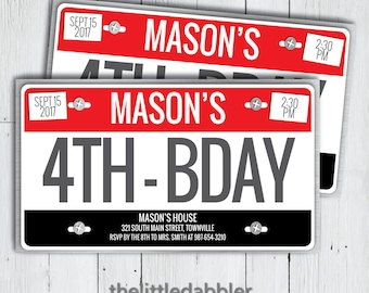 Printable License Plate Birthday Party Invitation -- Racing Racecar Cars 16TH Birthday New Driver First License -- PNG and JPG
